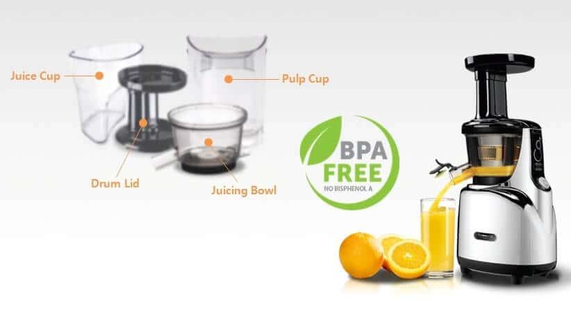 Wyciskarka do soków Kuvings z materiałów wolnych od bisfenoli BPA Free.