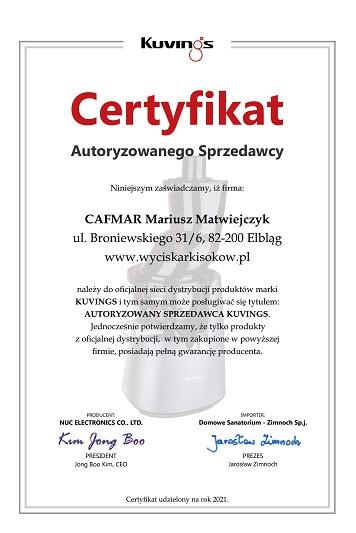 Certyfikat Autoryzowanego Dealera KUVINGS dla WyciskarkiSokow.pl